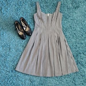 WHBM Black & White Checkered Fit and Flare Dress